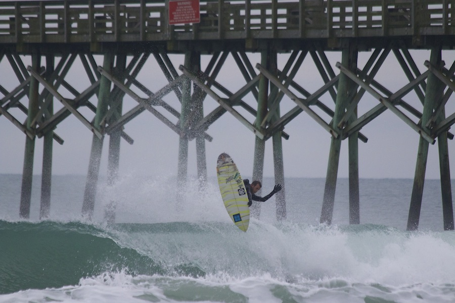 Cody Leutgens rippin' it in Surf City | photo courtesy of Eric Vithalani